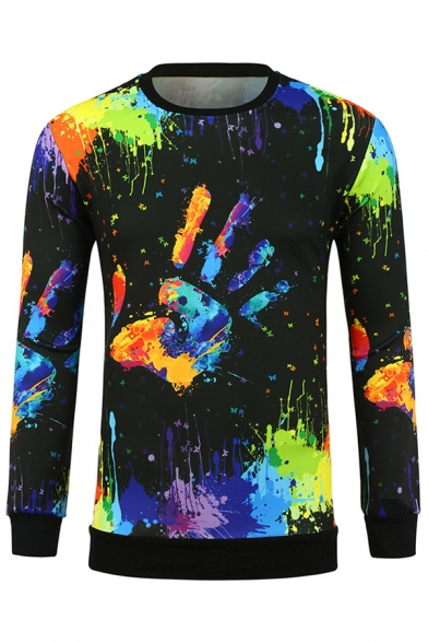 Sleeve Printed Neck Round Sweatshirt Hand Long Graffiti CSX4w4