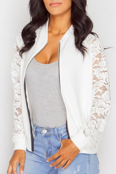 Lace Insert Long Sleeve Stand Up Collar Zip Up Coat
