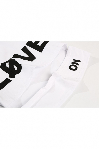 Round Hollow Out Neck Tee Sleeve Short Letter Crop Printed LOVE 4qWEZE