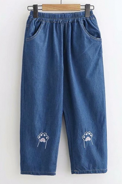 Lovely Cat's Paw Embroidered Elastic Waist Loose Straight Jeans