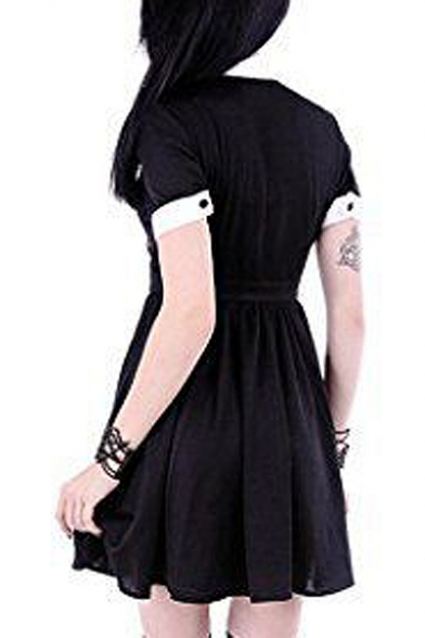 Moon Printed Contrast Lapel Collar Short Sleeve Buttons Down Mini A-Line Dress