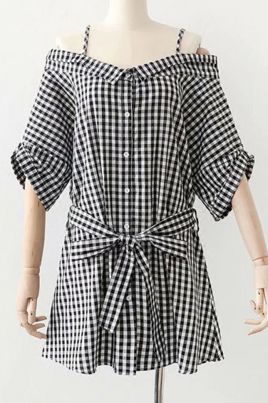 Off The Shoulder Buttons Down 3/4 Length Sleeve Plaid Bow Tied Waist Mini A-Line Dress
