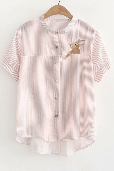 Rabbit Up Sleeve Stand Short Collar Shirt Buttons Embroidered Down RrFBwqESRn