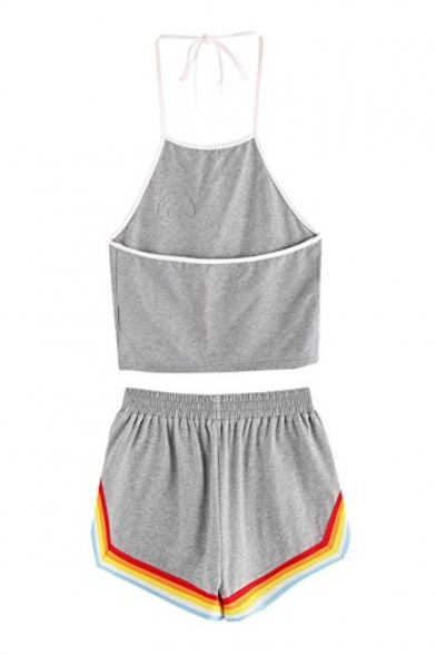 Striped Loose Rainbow Waist ords with Elastic Cami Shorts Crop Sleeveless Printed Halter Co zdAd1q