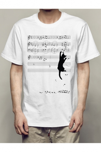 Sheet Music Cat Printed Round Neck Short Sleeve Tee
