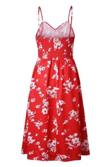 Maxi Down Buttons Floral Straps A Line Sleeveless Spaghetti Dress Printed IawtYxqwE