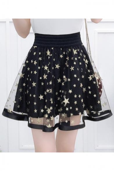 Star Printed Mesh Insert High Waist Mini A Line Skirt