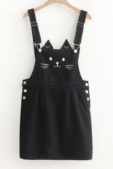 Straps Sleeveless Cat Embroidered Mini Overall Dress