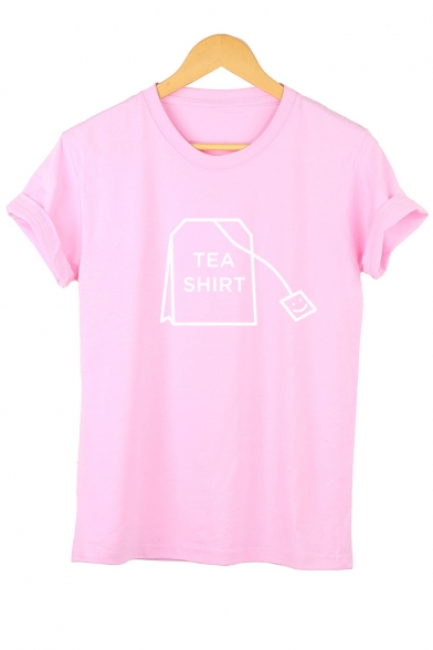 Leisure Short Neck Sleeve Tee Letter Printed Round SHIRT TEA PCq0w0