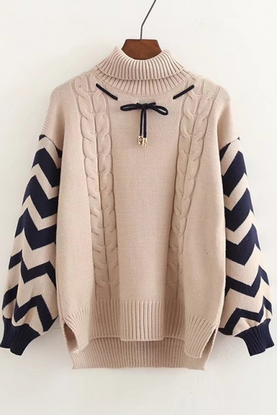Turtleneck Color Block Long Sleeve Bow Embellished Sweater