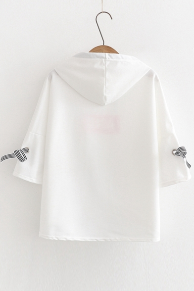 LETTER AND Cuff Tied Hooded Printed Tee Sleeve Short Bow vgrdgq
