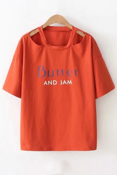 Hollow Out AND Sleeve Neck BUTTER JAM Tee Letter Short Round PqTxHgw
