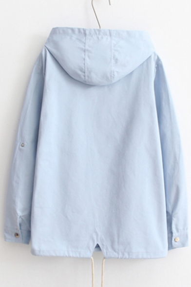Butterfly Embroidered Long Sleeve Buttons Down Hooded Coat