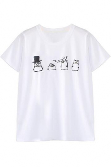 Short Printed Round Penguin Cartoon Sleeve Neck Tee 0AI1Wwqc