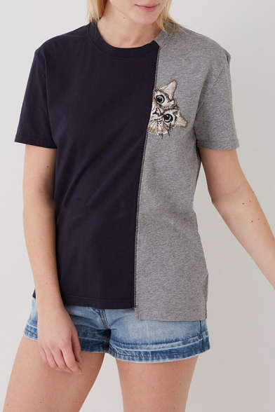 Sleeve Short Neck Color Block Embroidered Tee Cat Round YR77C8nWv