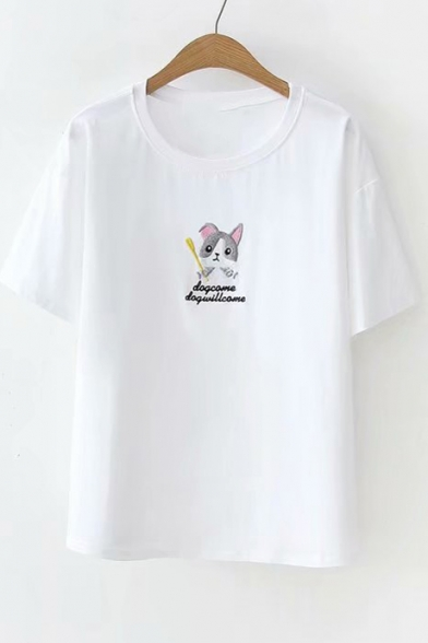 Neck Tee Dog Short Round Sleeve Embroidered Letter wCqUZ8