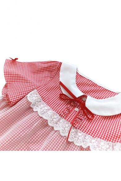 Doll Collar Mesh Inert Plaid Printed Short Sleeve Bow Embellished Mini A-Line Dress