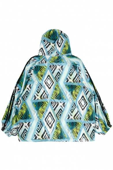 Geometric Leaf Printed Contrast Striped Long Sleeve Hooded Sun Proof Tunic Coat