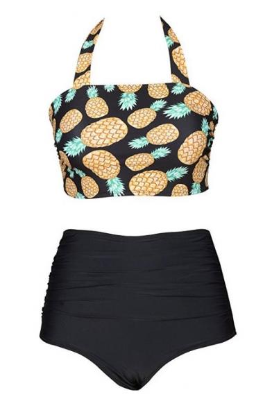 Halter Pineapple Printed Crop Top with High Waist Bottom Bikini
