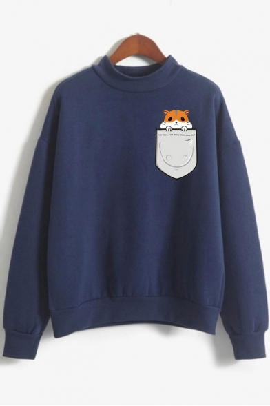 Printed Long Hamsters Neck Sweatshirt High Sleeve Pocket 1gB8cF