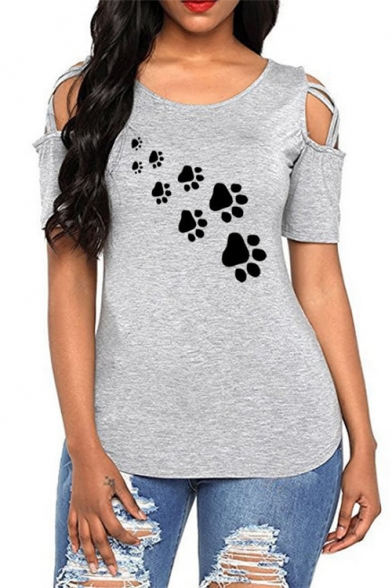Printed Short Neck Out Round Sleeve Paw Leisure Tee Hollow v4YqSwH