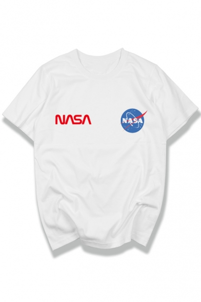 Letter Sleeve Neck Leisure Graphic Short Tee Round Printed NASA B1wnnPqpS