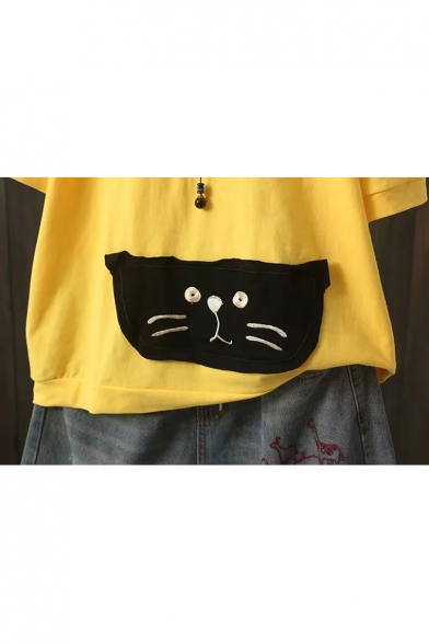 Letter Cat Sleeve Round Applique Printed Tee Half Neck Embroidered TxvT7