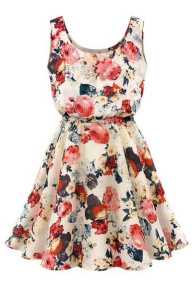 Round Neck Sleeveless Floral Printed Mini A-Line Dress