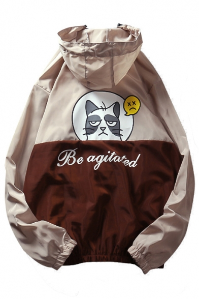 Sleeve Letter Zip Coat Long Cat Hooded Printed Cartoon Up Ivq1wTx41a