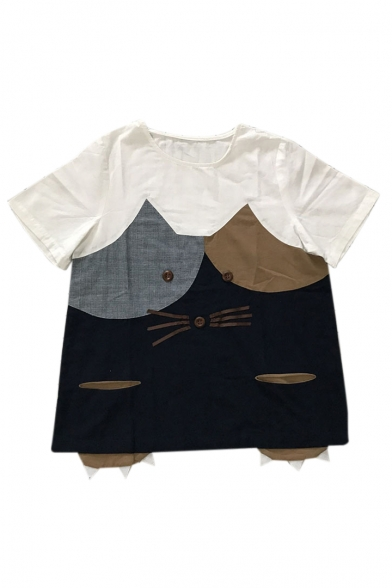 Short Sleeve Tee Embellished Neck Cat Round Buttons Color Block Printed wPRfqXxpY