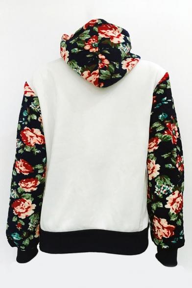 Block Leisure Sleeve Hoodie Long Printed Color Floral TtqxwnXndf