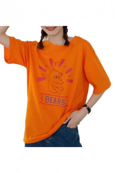 Sleeve Letter Short Tee Printed BEARS Round Neck Bear Cute C7q10FZ