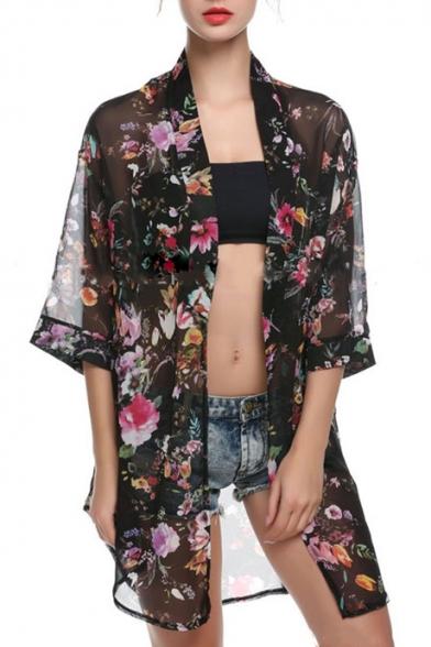 Floral Printed Collarless 3/4 Length Sleeve Chiffon Kimono