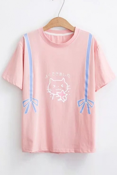 Sleeve Cat Printed Bow Japanese Tee Round Neck Short 4UqSnYTw