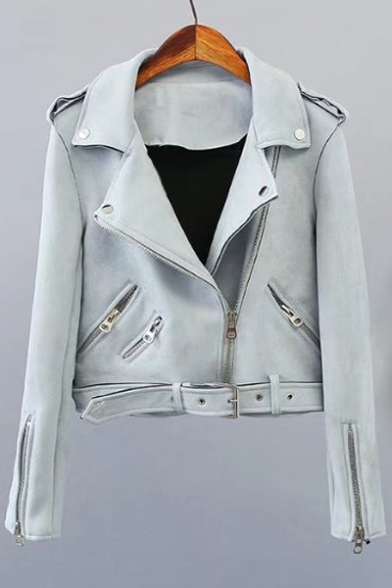 Notched Lapel Collar Long Sleeve Zip Up Suede Jacket