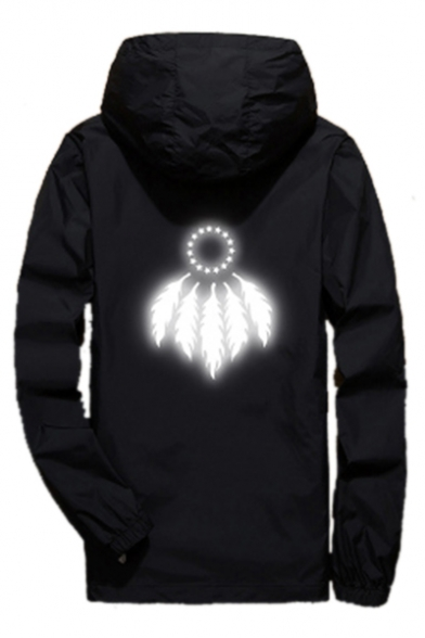 Up Long Hooded Zip Sleeve Pentagram Coat Printed Feather qEw7RXR