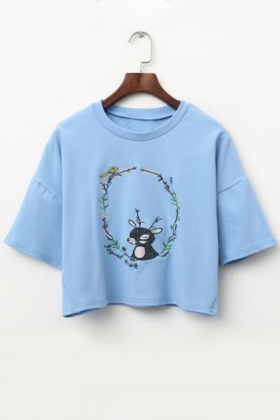 Rabbit Bird Branch Embroidered Round Neck Short Sleeve Crop Tee LC475487 фото