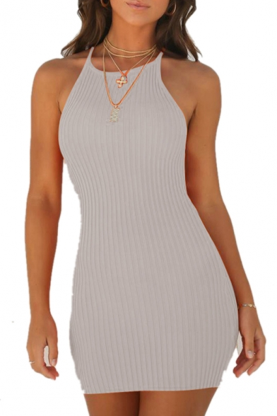 Ribbed Mini Dress Spaghetti Bodycon Sleeveless Plain Straps Rq0xnwzvC