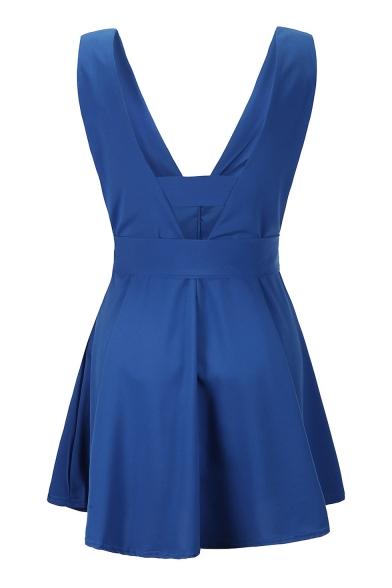 V Neck Sleeveless Plain Tied Waist Hollow Out Back Mini A-Line Dress