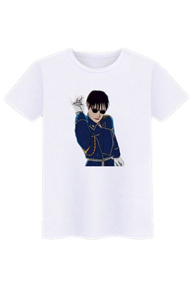 Printed Short Unisex Round Neck Leisure Tee Sleeve Character dtqFx7t