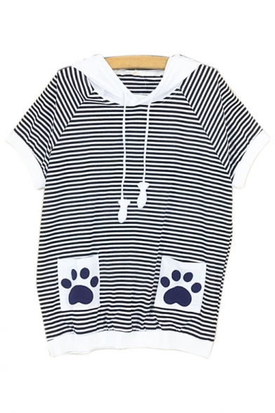 Color Embroidered Printed Short Paw Striped Tee Pocket Block Sleeve IxIA4rqZw