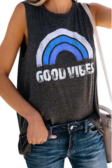 Sleeveless Printed Letter GOOD VIBES Neck Round Tank Rainbow gqY8tzxR8