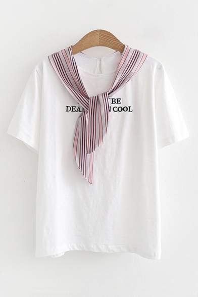 Embellished Tie Embroidered Sleeve Round Letter Neck Printed Short Tee Striped HwIqFpf
