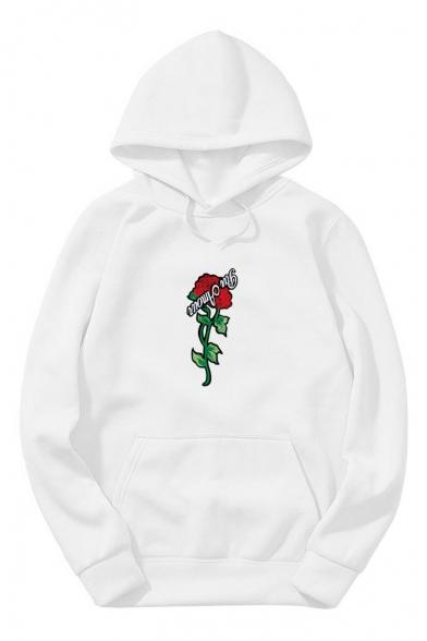 Letter Floral Printed Long Sleeve Unisex Hoodie