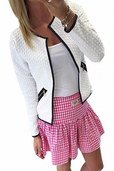 Plaid Jacquard Collarless Long Sleeve Open Front Coat