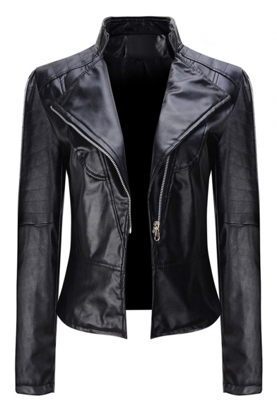 Plain Long Sleeve Lapel Collar Zip Up Crop PU Jacket