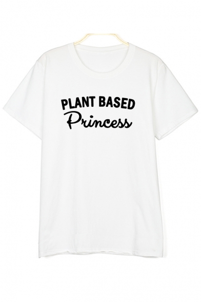 PLANT BASES Letter Printed Round Neck Short Sleeve Tee