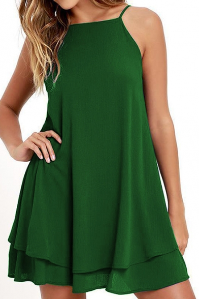 Spaghetti Straps Open Back Sleeveless Plain Mini A-Line Dress