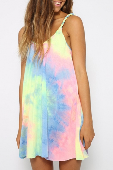 Straps Sleeveless Mini Tie Dye Cami Dress Printed Spaghetti wt8qHvqF