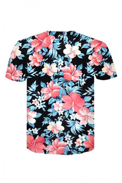 Round 3D Printed Floral Sleeve Trendy Tee Neck Short qtWFSFdw